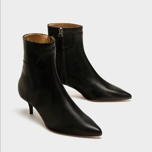 Zara black leather ankle boots. NEW